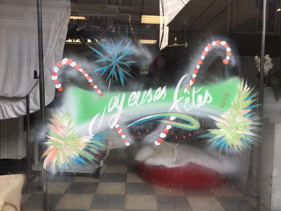 Commerces de proximité : Peintures sur vitrines à l'occasion de Noël 2020